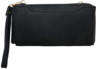 Faux Leather Women?s Cell Phone Wallet with Crossbody Strap and Wristlet