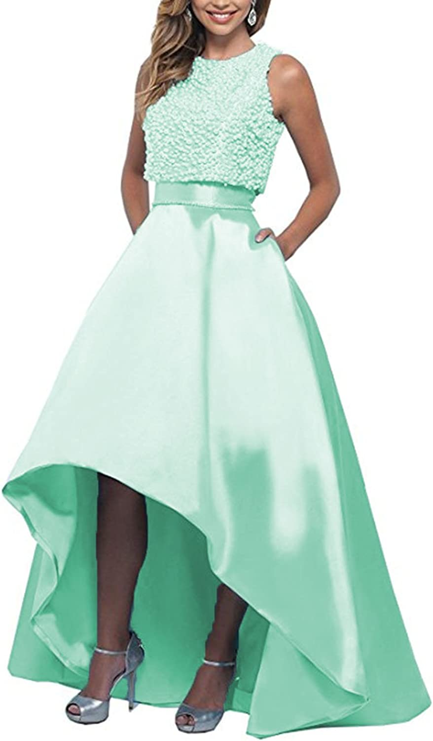 Beautydress Womens High Low Prom Dresses Top with Pearls Evening Party Gowns