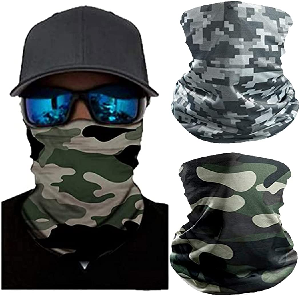 Catery Outdoor Face Bandana Camouflage Dust Face Scarf Breathable Neck Gaiters for Men