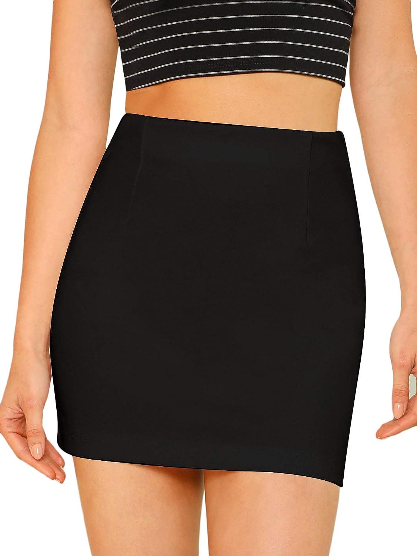 Floerns Women's High Waist Basic Bodycon Plain Short Tube Mini Skirt