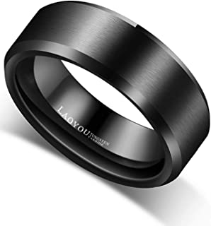 Tungsten Rings for Men- 8mm Mens Tungsten Carbide Wedding Rings Jewelry Black Brushed Comfort Fit Band