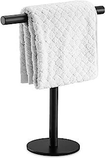 Pynsseu Bath Hand Towel Holder Standing, SUS304 Stainless Steel Matte Black T-Shape Towel Bar Rack Stand, Tower Bar for Bathroom Kitchen Vanity Countertop