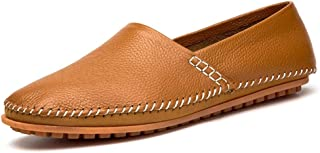 HaiNing Zheng Loafers for Men Slip-on Casual Walking Shoes Genuine Leather Lightweight Rubber Outsole Anti-Skid Round Toe Flat Stitching (Color : Brown, Size : 6.5 UK)
