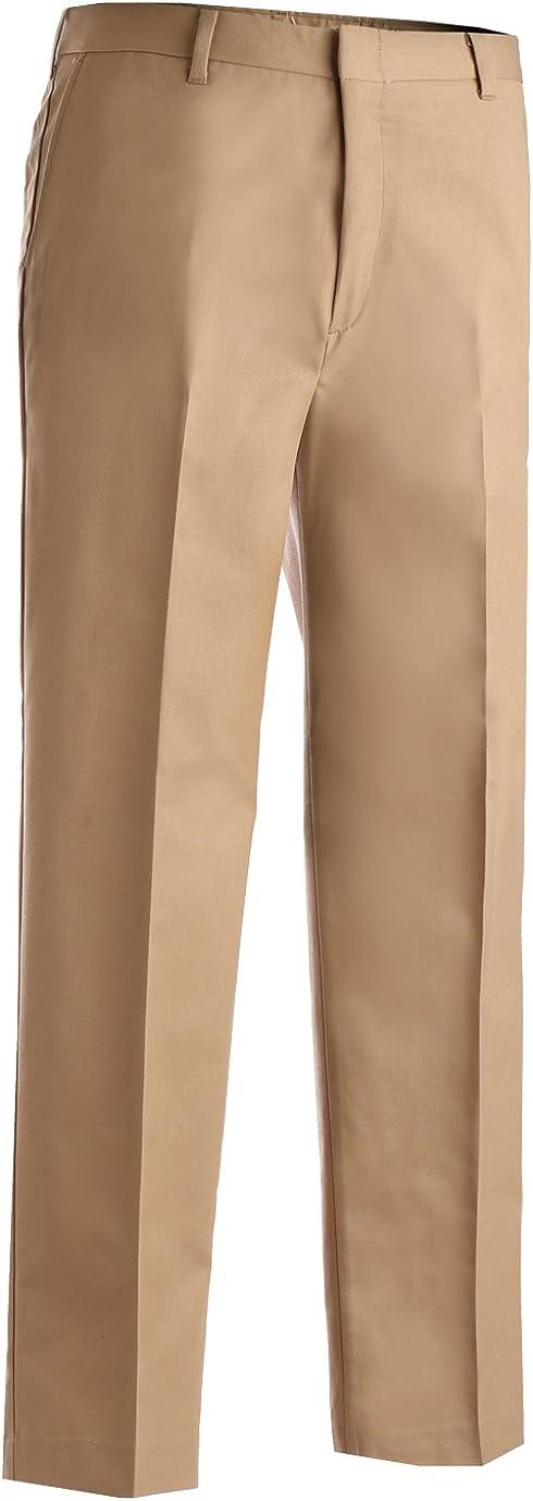 Ed Garments Men's Business Casual Flat Front Brass Zipper Pant