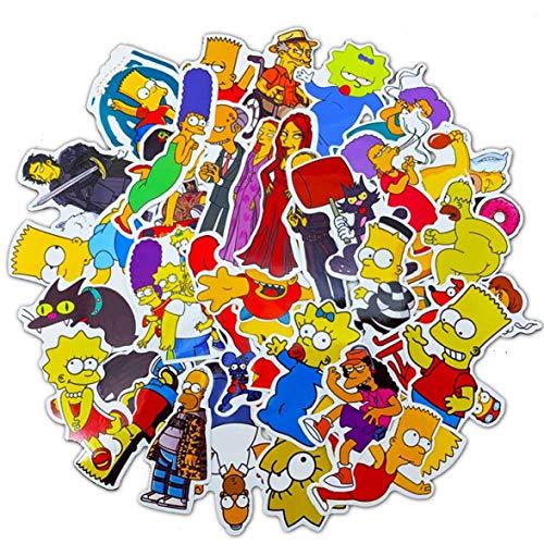 Barney Original - Juego de 50 pegatinas de dibujos animados de los Simpsons Graffiti impermeables para coche, ordenador portátil, equipaje, monopatín, moto, calcomanías de juguete para niños