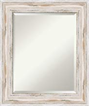Framed Vanity Mirror   Bathroom Mirrors for Wall   Alexandria White Wash Mirror Frame   Solid Wood Mirror   Small Mirror   25.12 x 21.12