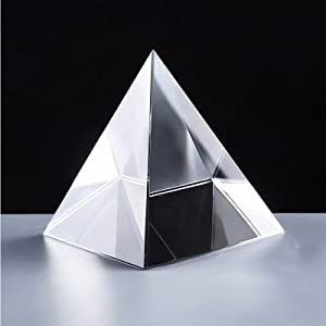 Crystal Pyramid Prism, Feng Shui Crafts Meditation Crystal for Home Office Art Decor, Pyramids Gift, Stand for Prosperity, Positive Energy and Good Luck