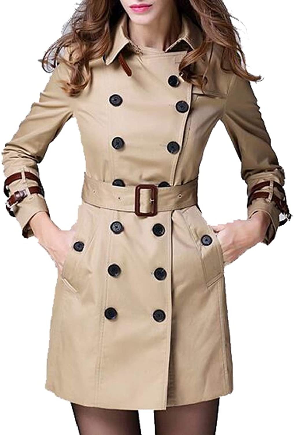 Emastor Women's DoubleBreasted Slim Solid WoolBlend Winter Pea Coats with Belt