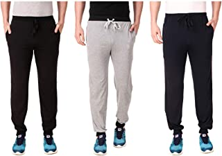 Cynak Men's Cotton Trackpants with Both Side Zipper Pockets (Multi Color) (Large Size) (Pack of 3 Trackpants)