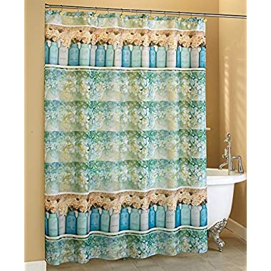 The Lakeside Collection Mason Jar Floral Shower Curtain
