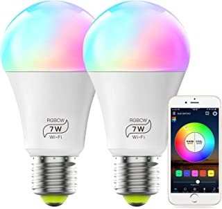 MagicLight Smart Alexa Compatible Light Bulb (No Hub Required), A19 7W (60w Equivalent) Multicolor Dimmable RGBCW WiFi LED Lights, Works with Alexa Google Home and Siri (2 Pack)