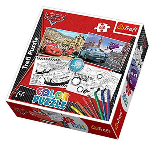 TREFL 36502 Cars 2 - Puzzle Colorear 2 Unidades, 48