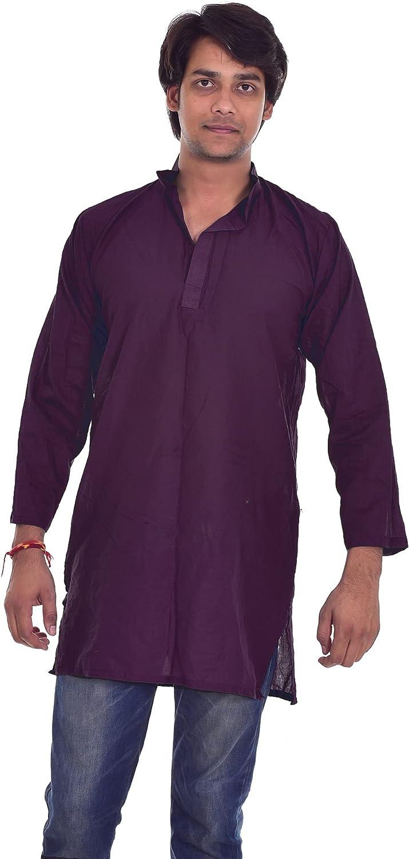 Lakkar Haveli Indian Men's Cotton Kurta Solid Purple Color Wedding Wear Tunic Casual Shirt Plus Size