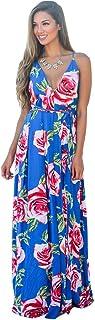 Kasamysoul Women's Deep V-Neck Maxi Dress Boho Style Backless Floral Casual Long Dresses A Line Dress for Women Plus Size