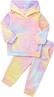FEESHOW Kids Boy Girl Tie Dye Print Long Sleeve Hoodie Sweatshirt Long Pants with Pocket Sweatsuits Sports Outfits Colorful 4