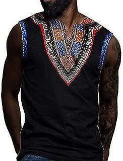 Beautyfine Men's Vest Nationality Printed Silm Fit Sleeveless V-Neck Tank Tops