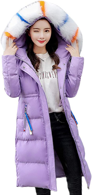 Women Sweet Purple Hooded Down Cotton Coat Winter Long Jacket Warm Windproof Zipper Jacket (color   Purple, Size   M)