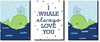Big Dot of Happiness Tale of a Whale - Baby Boy Nursery Wall art and Kids Room Decorations - Christmas Gift Ideas - 7.5 x 10 inches - Set of 3 Prints