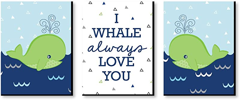 Big Dot Of Happiness Tale Of A Whale Baby Boy Nursery Wall Art And Kids Room Decorations 7 5 X 10 Inches Set Of 3 Prints
