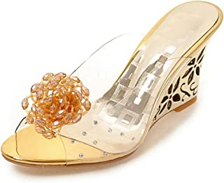 Women's Sexy Flowers Rhinestone Transparent Peep Toe High Wedge Heels Slide Mule Sandals