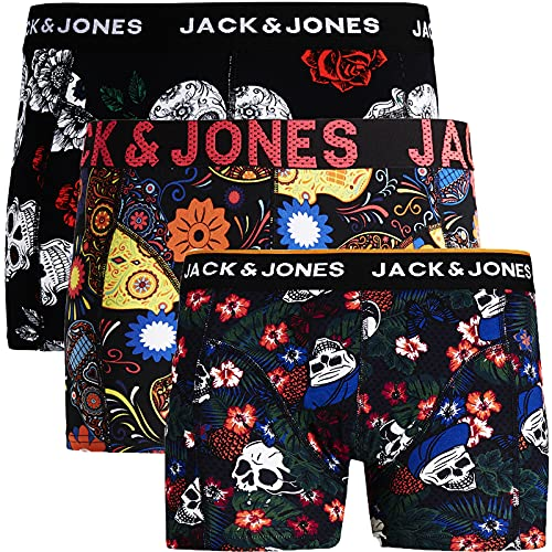 Jack & Jones - Calzoncillos tipo bóxer para hombre, 3 unidades, mezcla de algodón...