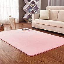 Solid Rectangular Area Rugs Soft Living Room Children Bedroom Rug Coral Fleece Anti-Slip Carpets Home Decor Modern Indoor Outdoor Runners Nursery Pink 5.2' X 6.5'