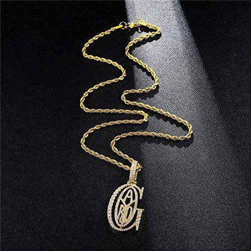 CCXXYANG Co.,ltd Collar Lujo Helado Zircon G-Ad Colgante Bling Collar Hip Hop Letras Joyería Mejor Regalo para Hombres Mujeres Joyería De Fiesta 60Cm