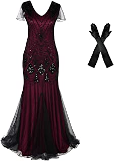 فستان سهرة للنساء 1920s فستان حفلات كوكتيل حورية البحر مقاس إضافي مع قفازات طويلة