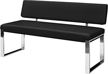 Inspired Home Upholstered Bench - Black Bench with Back Chrome Square Legs Padded Bench PU Leather Perdonio