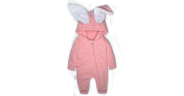 Pink R Minilove Baby Rabbit 3D Ear Hoodie Jumpsuit ,90