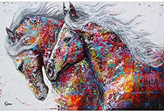 Faicai Art Colorful Abstract Animal Street Art Canvas Paintings Wall Art Horse Pop Art Prints Posters Modern Home Decorations Living Room Wall Decor Wooden Framed 32