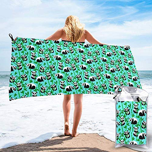 FLDONG Toalla de secado rápido con impresión de panda de bambú, ultra suave, compacta, apta para camping, gimnasio, playa, hogar, 81.5 x 163 cm
