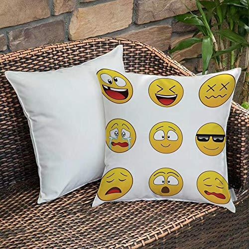 Funda De Cojine Funda de Almohada,Emoji, feliz Smiley enojado furioso expresiones tristes de la cara con gafas estados de án,Fundas de Cojín con Cremallera - Fundas de Almohada para Sofá y Cama45x45cm