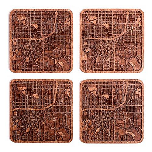 Des Moines, IA Karte Untersetzer by O3Design Studio, Set 4, Sapeli Holz Untersetzer mit City Map, handgefertigt