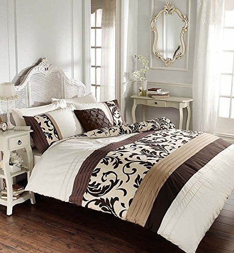 Luxury Duvet Cover King Size Kingsize with Pillowcases Quilt Bedding Set Reversible Poly Cotton, Scroll Chocolate