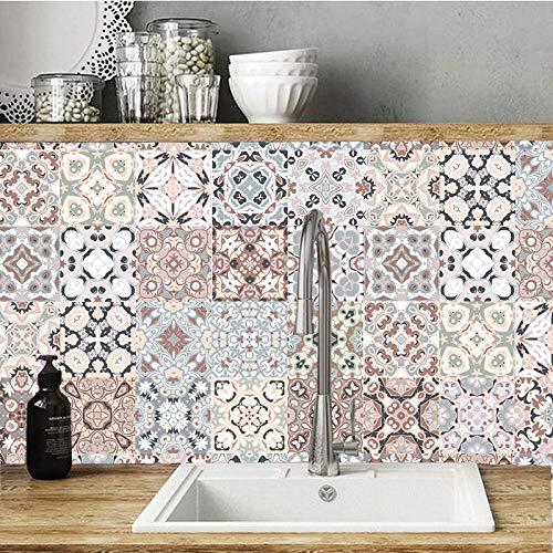 OUDE Estilo árabe del Mosaico del azulejo Pegatinas para Estar Cocina Retro 3D Impermeable Mural Decal Baño Decoración Adhesiva del Papel Pintado