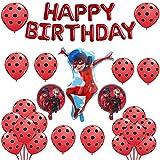 Geenber Ladybug Set de Globos Globo de Papel de Aluminio Suministros de decoración de Fiesta de Feliz cumpleaños para Ladybug Superhero Girl Kids (Paquete de 24)