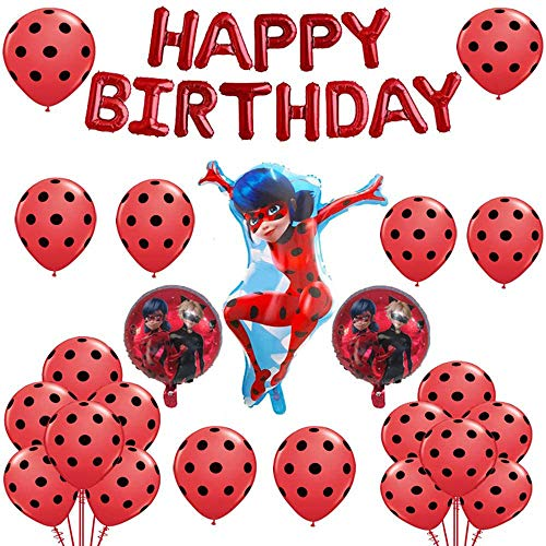 Geenber Ladybug Balloons Set Aluminum Foil Balloon Happy Birthday Party Decoration Supplies for Ladybug Superhero Girl Kids (24 Pack)