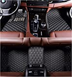 OkuTech Custom Fit XPE-Leather All Full Surrounded Waterproof Car Floor Mats for Mercedes Benz C Class C180 C200 C250 C260 C300 C350 4 Door 2014-2020,Black with Beige Stitching