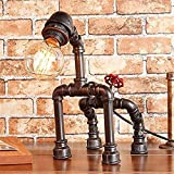 ZH-WANG lámpara de escritorio Steampunk de la vendimia rústica mesa de iluminación de la lámpara, lámparas del tubo de agua de escritorio for la barra, club, dormitorio, sala de estar, hotel,...