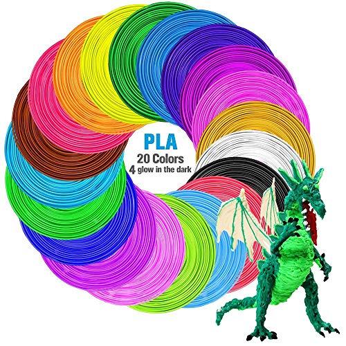 3D Printing Filament, 20 Packs PLA 3D Pen Filament Refills, No smells and easy to peel off filament for 3D Printer, 100m Length, No bubbles, 1.75mm, Colourful