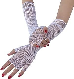 SGJFZD 3 Pairs Long Fishnet Gloves Sexy Punk Fishnet Finger Mesh Gloves, Black Sexy Gloves (Color : White)