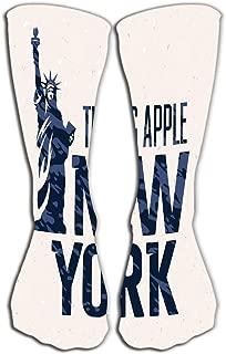 Outdoor Sports Men Women High Socks Stocking print new york vintage textured typography apparel fashion grunge background statue liberty Tile length 19.7
