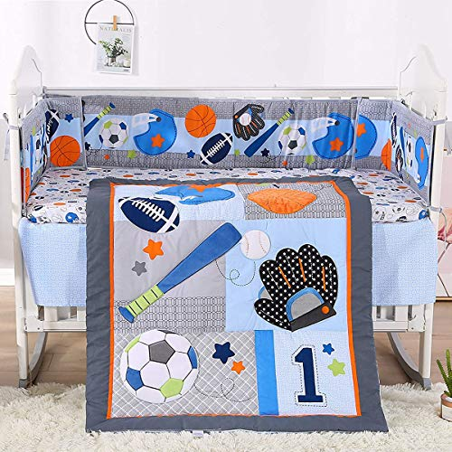 Baby Crib Bedding Set for Boys 3 Pieces Blue Sports Baseball Originals Soft Toddler Nursery Bedding Sets Baby Boy Sports Bedding