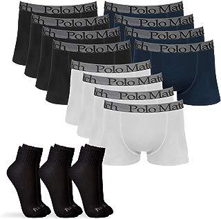 Kit 12 Cuecas Boxer De Cotton 3.0 com 3 Pares de Meia Cano Médio Preta M - POLO Match