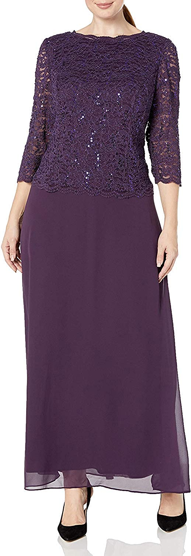 Alex Evenings Women's Plus Size Long Lace Mock Dress