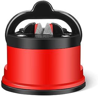 Godmorn Afilador de Cuchillos Profesional,Afilador de Cuchillos Manuales para Todos los Tipos de Cuchillos,Base de Ventosa,Antideslizante,Fácil de Usar, Ideal para USA en Cocina y Exterior-Rojo