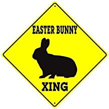 HAHUHU Easter Bunny Crossing Animal Caution Festival Celebration Signs Aluminum Metal Signs Vintage Warning Signs for Home Decor Yard Gate Sign 12