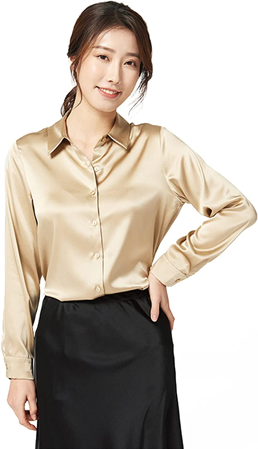 GLOBELEGEND Silk Blouse for Womens Casual Work Office Long Sleeve Button Down Silk Shirts Tops for Ladies