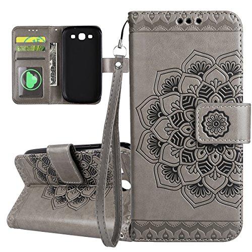 ISAKEN Compatibile con Samsung Galaxy S3 Custodia Cover, Libro PU Pelle Wallet Cover Flip Portafoglio Protezione Custodia con Supporto di Stand/Carte Slot/Strap[Shock-Absorption], Fiori: Grigio